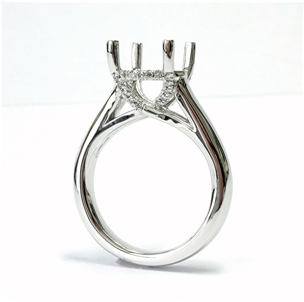 stone diamond mounts engagement image cushion mount semi platinum lucida ring round wedding