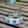Diamond and Ceylon sapphire ring