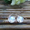 14k rose gold moonstone diamond halo earring