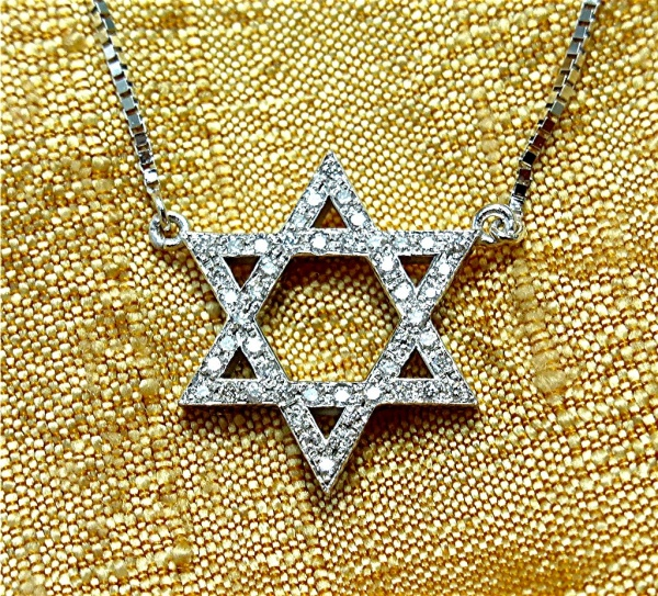 14k diamond Jewish star necklace