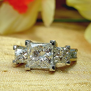 Six Carat Princess Cut Diamond, Platinum Three Stone Ring