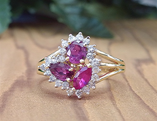Diamond and cluster Ruby ring