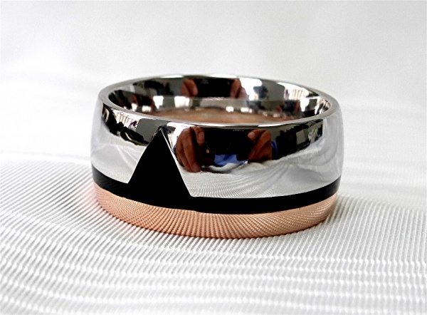 Mens Two tone, 14k rose and white gold