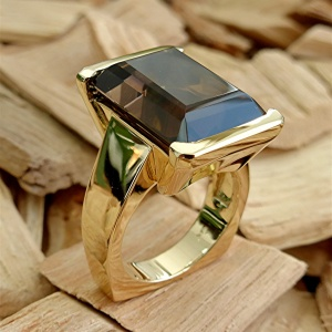 Large smoky Quartz 14k gold ring