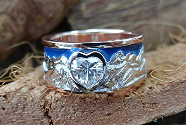 Mountain ring with blue sky