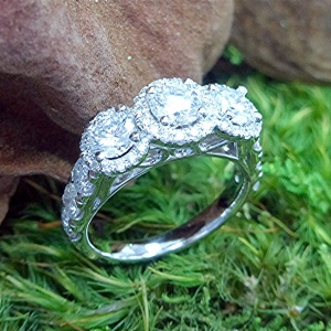 Three halo, three stone Ring
