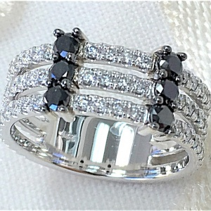 Three row white and black diamond band