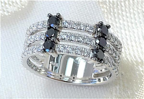 Three row white and black diamond band