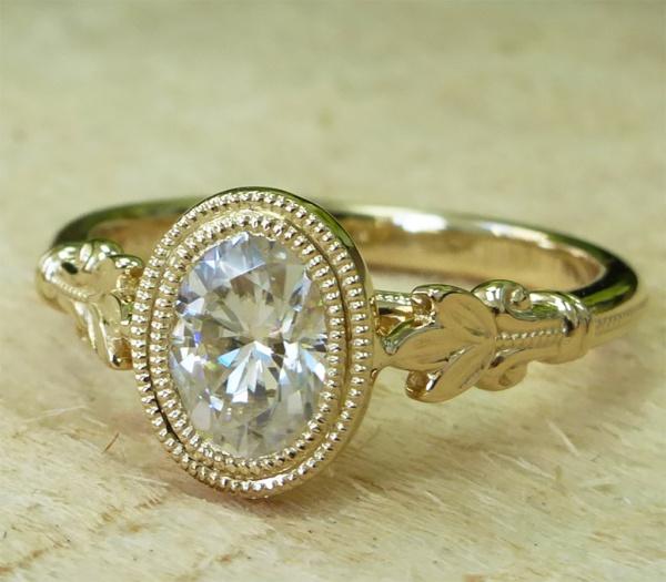 14k Gold Moissanite Engagement Ring