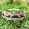 14k rose gold diamond sapphire ring