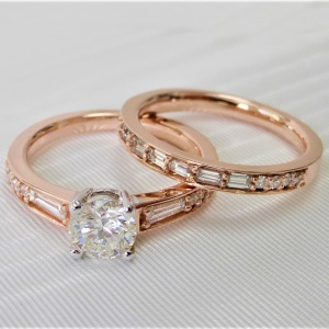 14k rose gold diamond matching set