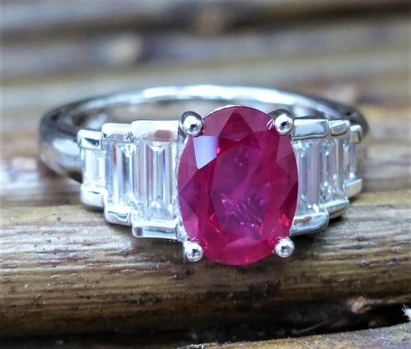 Burma ruby and diamond engagement ring