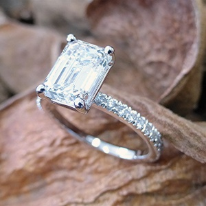 Two karat emerald cut engagement ring