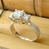 Three Carat Princess Cut Diamond Engagement Ring