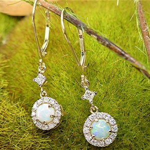 Dangling halo diamond and opal earring