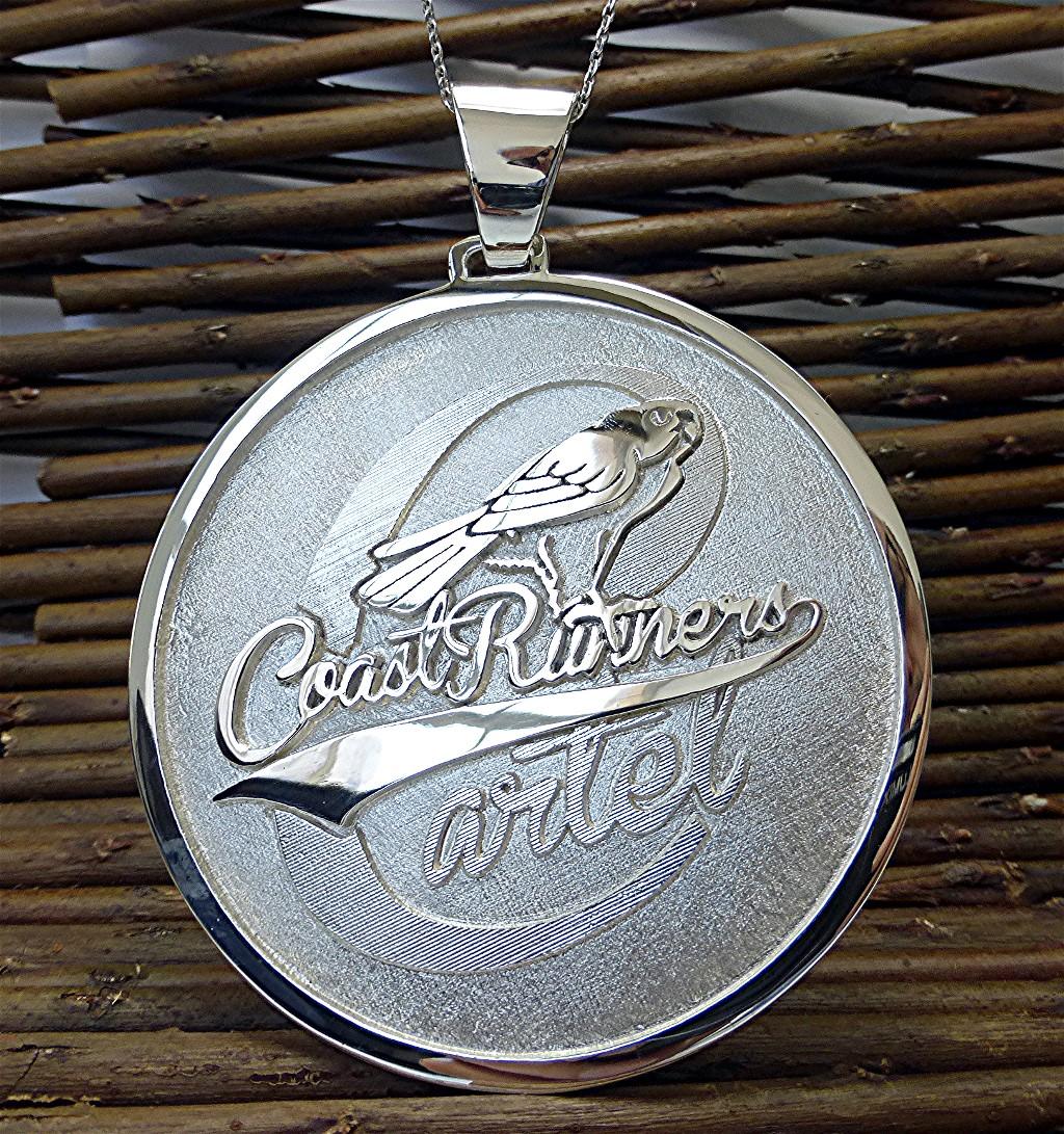 Three inches wide circle logo pendant