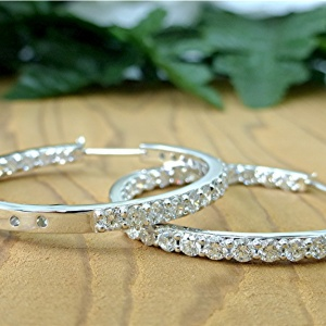 Five carat in-out hoop diamond earring