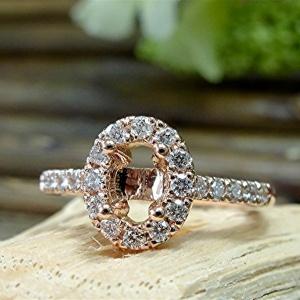 Oval diamond semi mount engagement ring