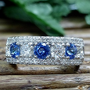 Diamond and Ceylon sapphire ring