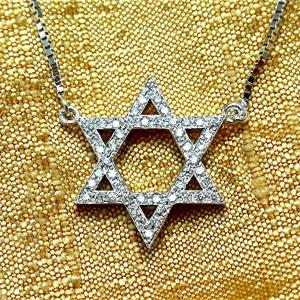 14k diamond Jewish star necklace