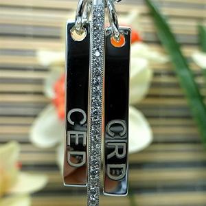 Three bars diamond silver pendant