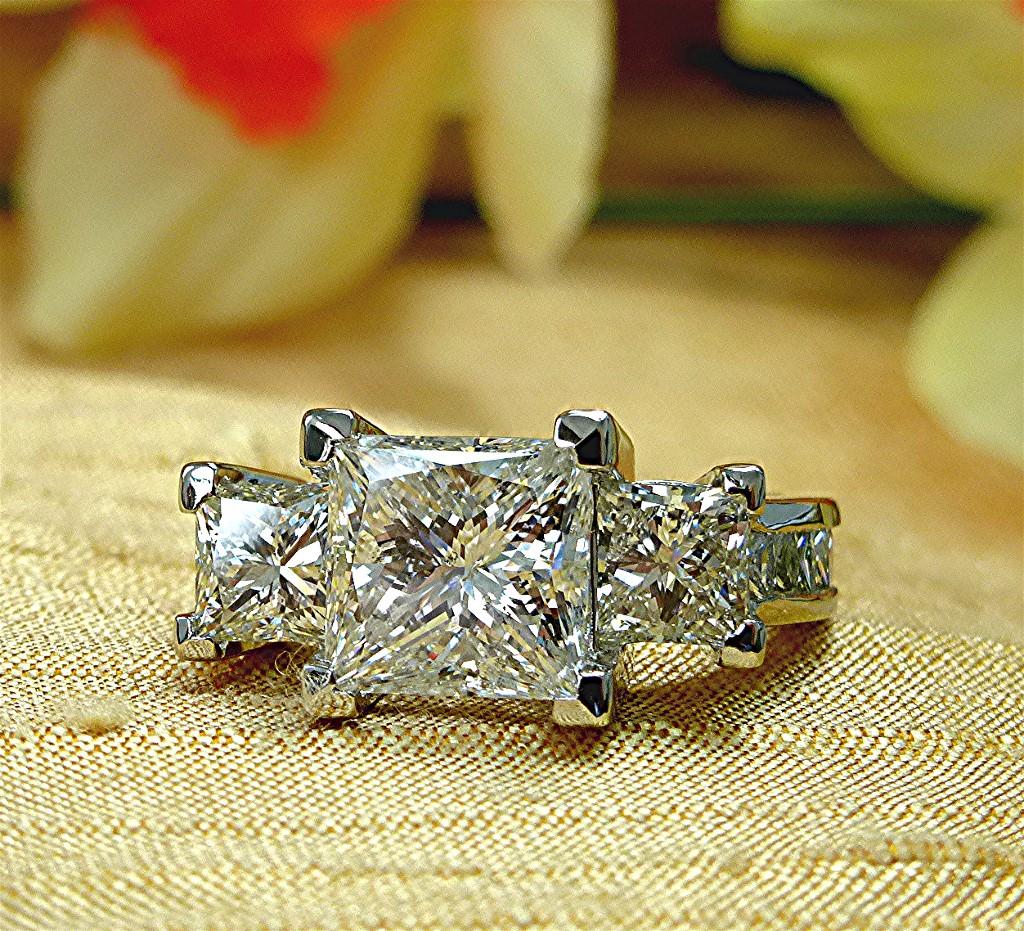 Six Carat Princess Cut Diamond, Platinum Three Stone Ring