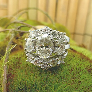 Two matching platinum band for 3.5ct. engagement ring