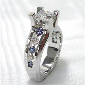 Diamond and colored stone Engagement ring