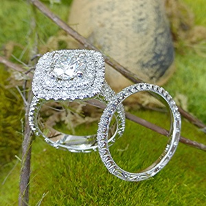 Double halo diamond engagement ring and band