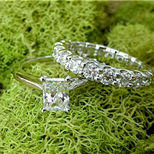Emerald cut Diamond and eternity band set