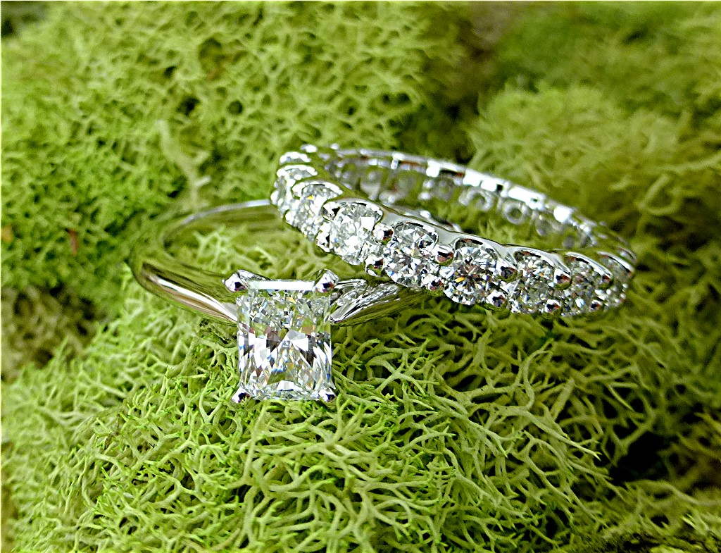 Emerald cut Diamond and eternity band set