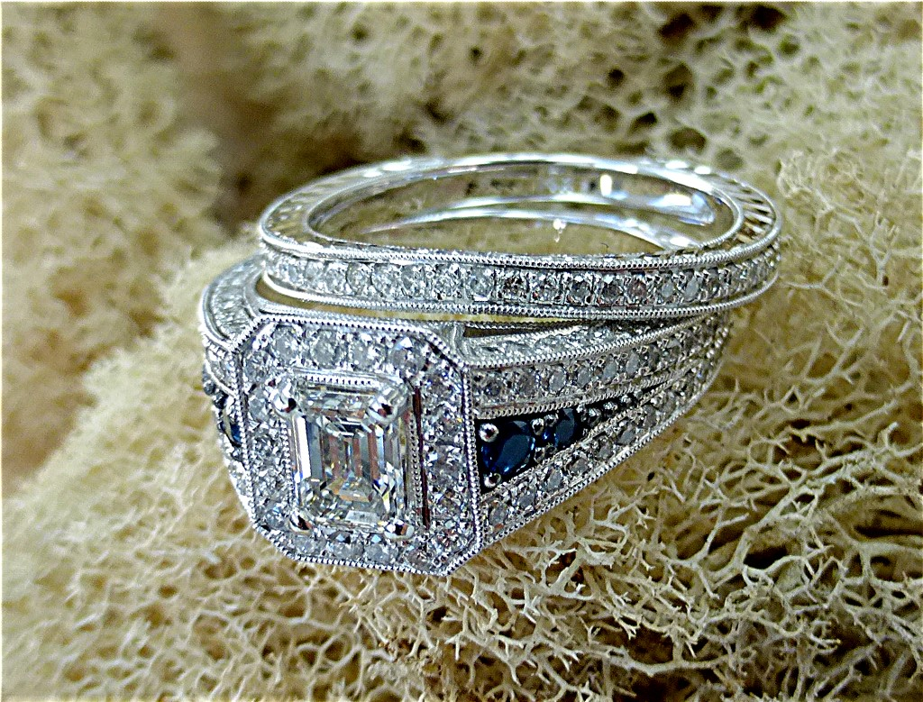 Emerald cut diamond engagement set.