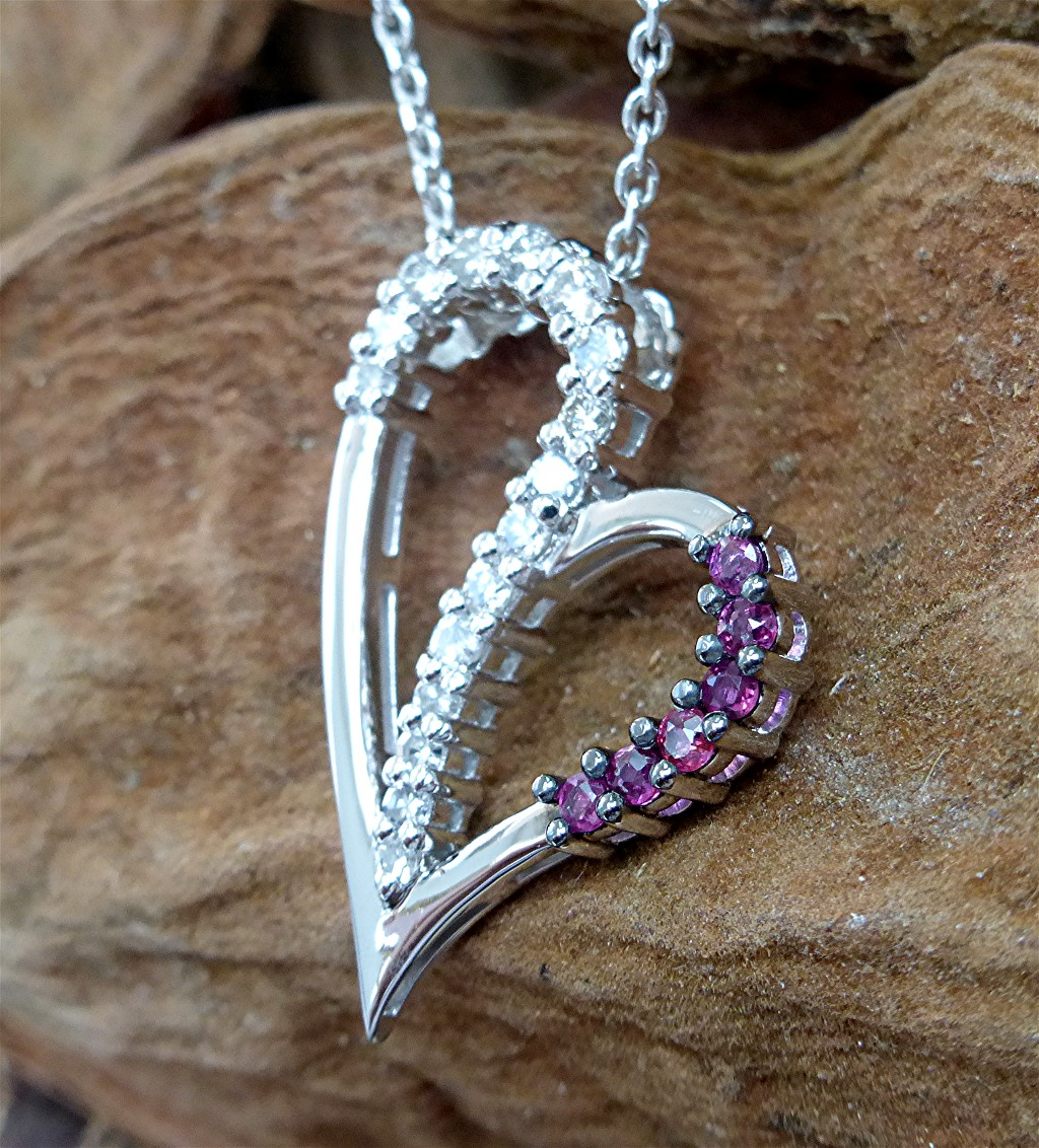 14k white diamond and ruby heart pendant