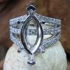 14k White Marquise Diamond Semi Mount