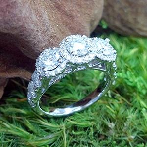 Three halo, three stone Ring