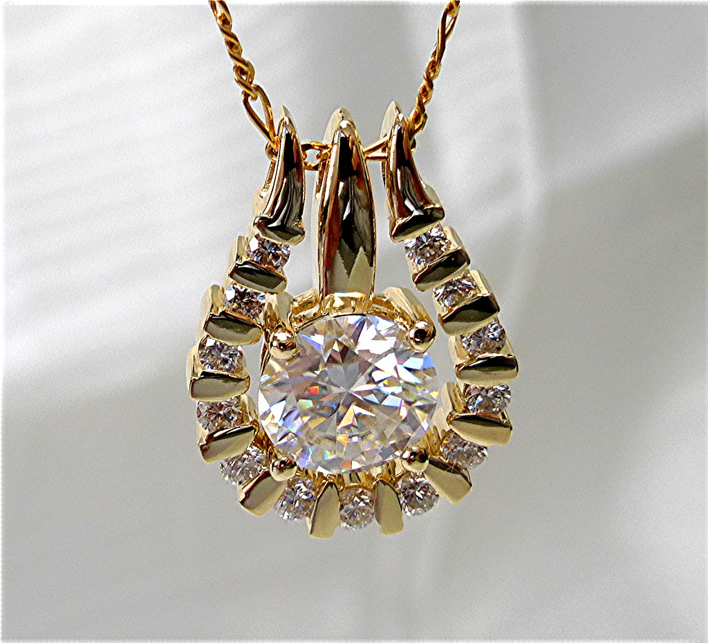 14k gold Diamond jacket with solitaire moissanite pendant