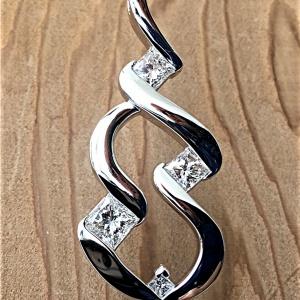 Five princess cut diamond pendant