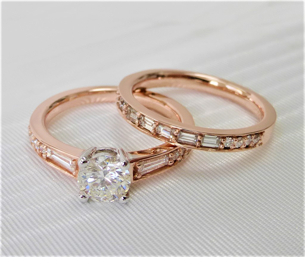 14k rose gold diamond matching set