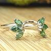 Six green marquise diamond wrap ring