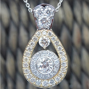14k Two Tone 2.74ct. Diamond Pendant