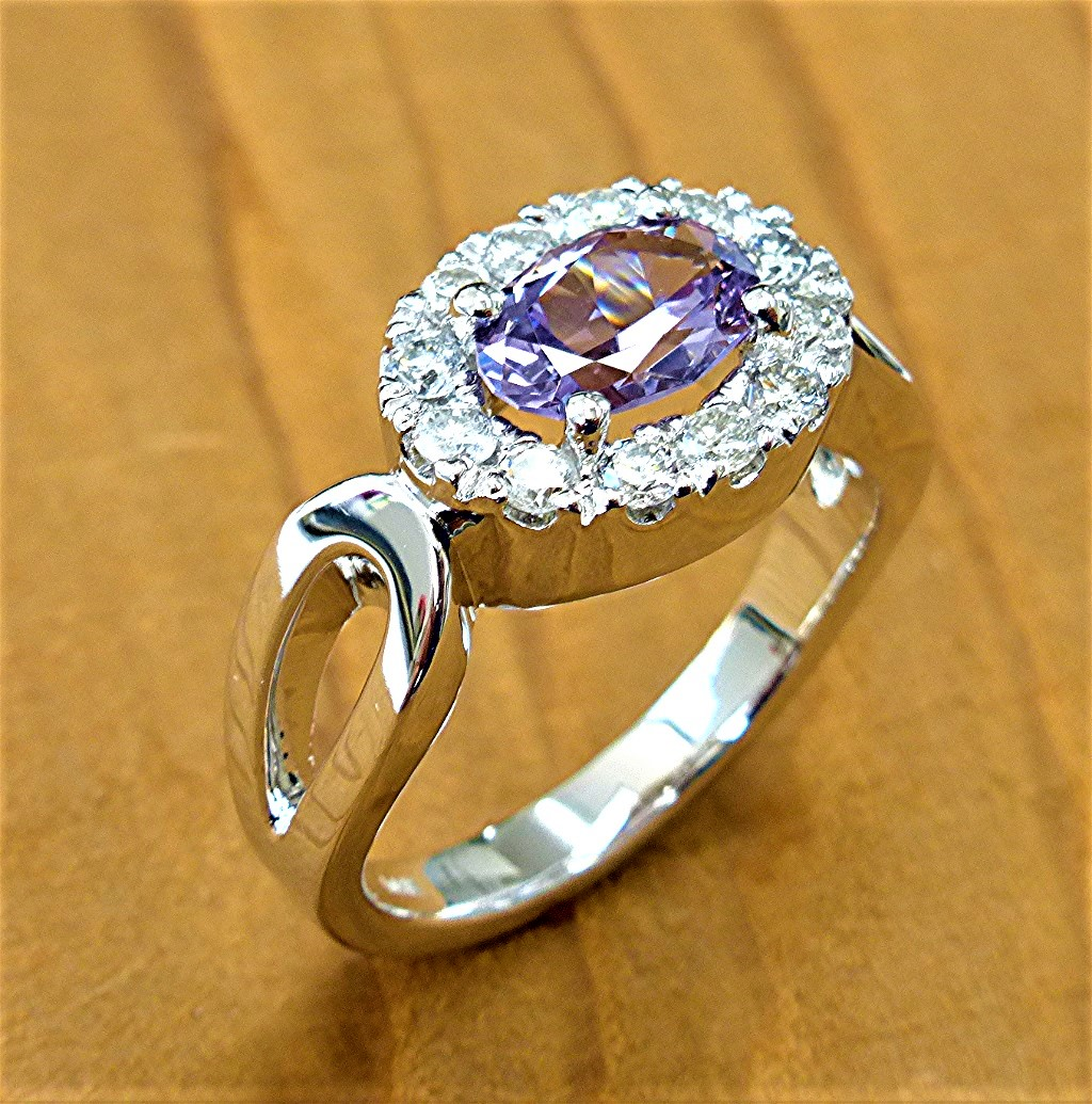 14k diamond and spinel ring