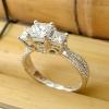 Three Carat Princess Cut Diamond Engagement Ring