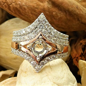 14k white and rose gold engagement set