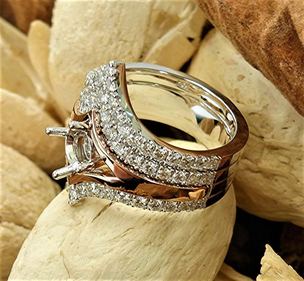 14k white and rose gold engagement set