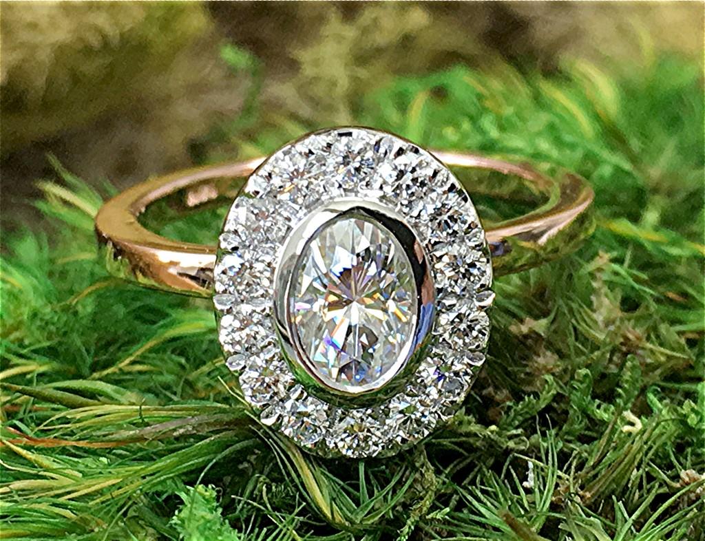 Diamond and moissanite 14k engagement ring