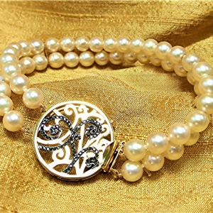 14k gold and diamond pearl clasp