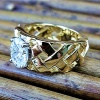 Woven Gold and moissanite ring