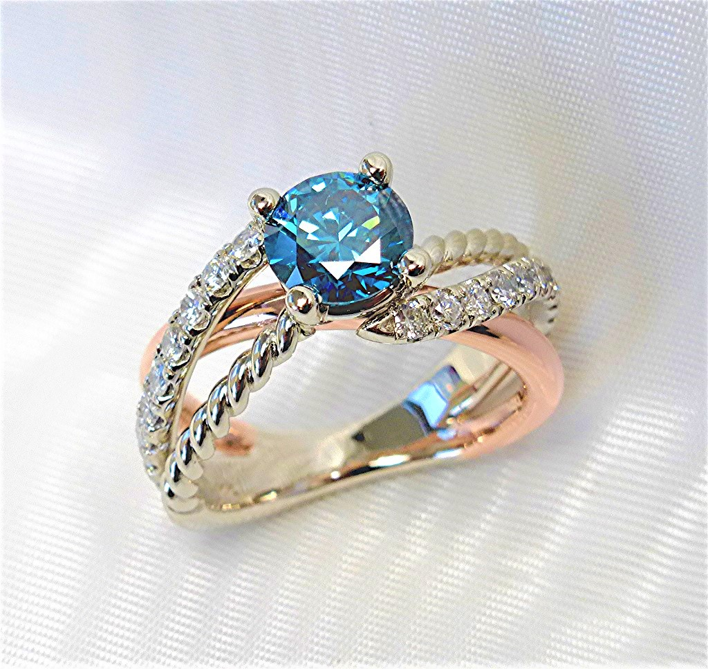 Triple Shank Engagement Ring with Blue Diamond