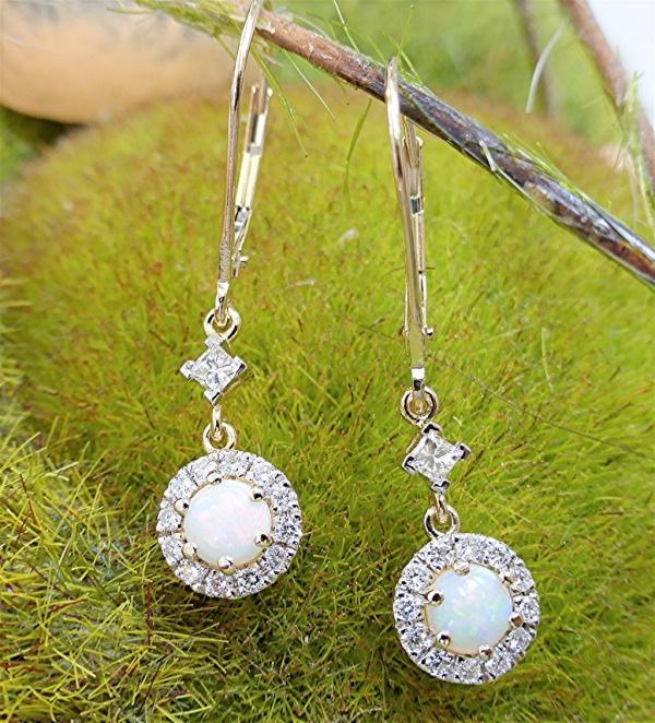 Dangling halo diamond and opal earring