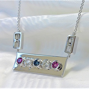 Bar Necklace with Sentimental Screws on the Chain